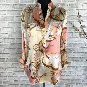 Cache Equestrian Leopard Silk Tab Sleeve Blouse